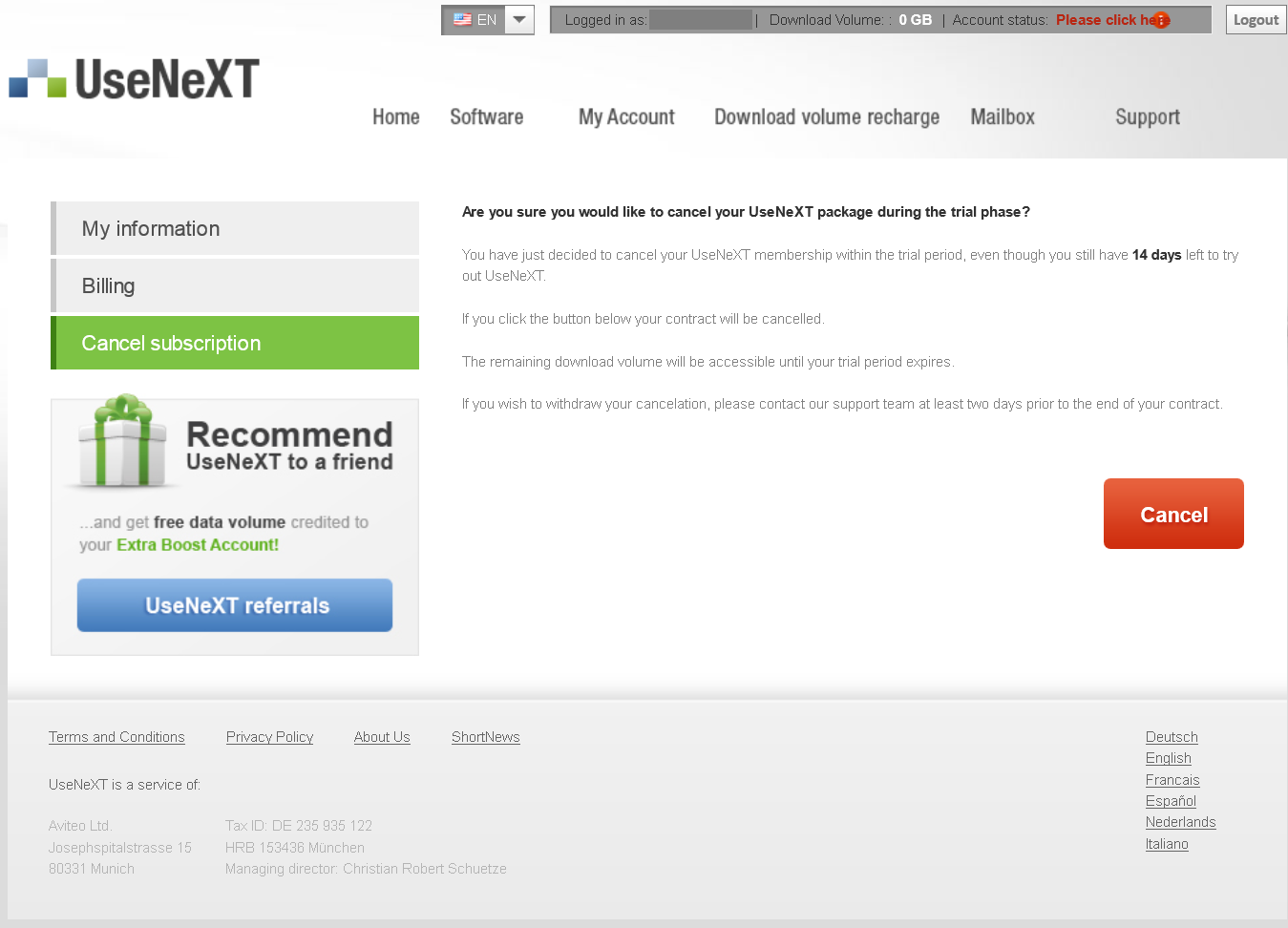 How To Cancel UseNeXT, Before The Trial Expires